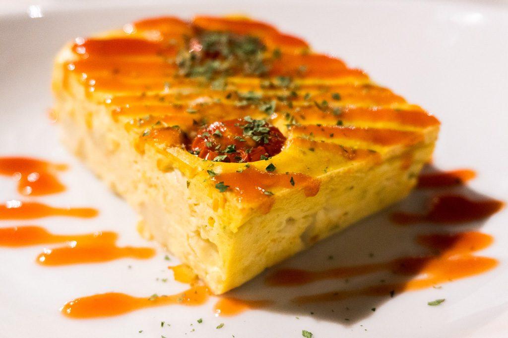 Comida vegana en Kioto. Tortilla española de tofu.