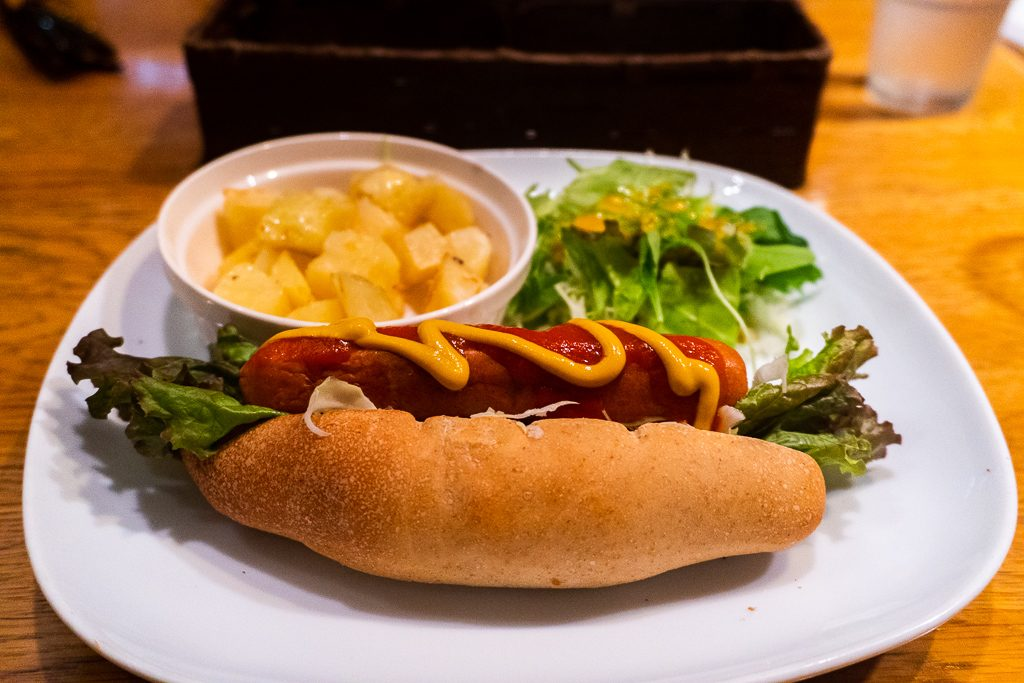 Hot dog vegano en Osaka.